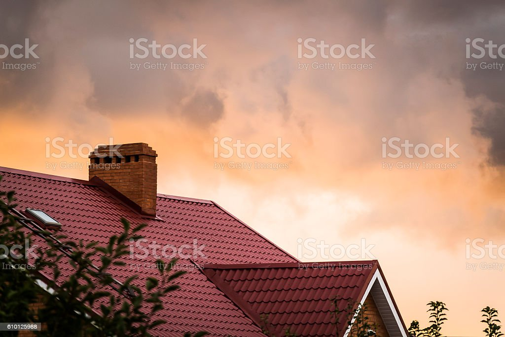 Roof of the house stock photo