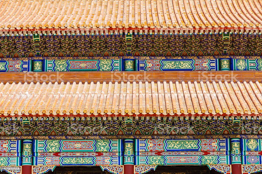 Roof of the palace of the Forbidden City, Beijing stock photo