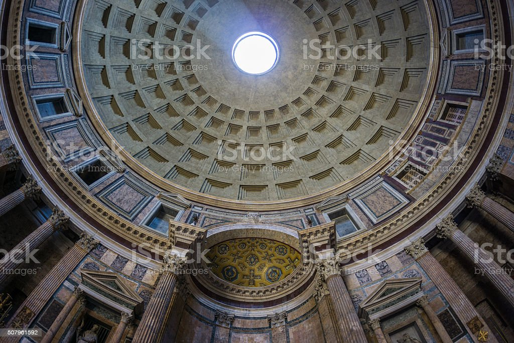 Roof of the Pantheon Basilica stock photo