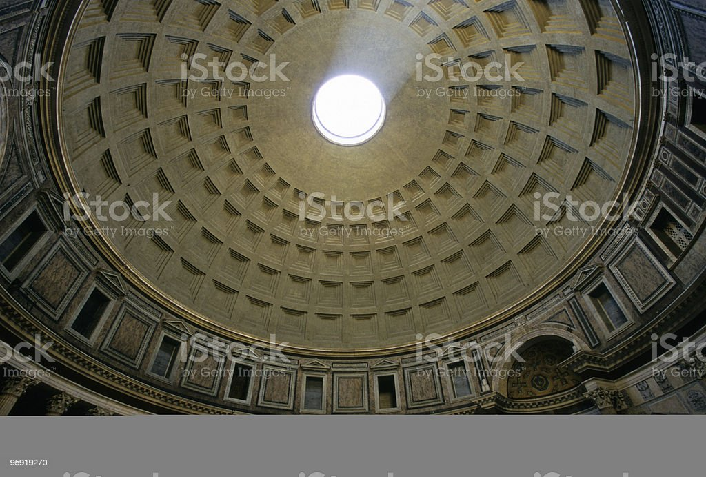Roof of the Pantheon, Rome stock photo