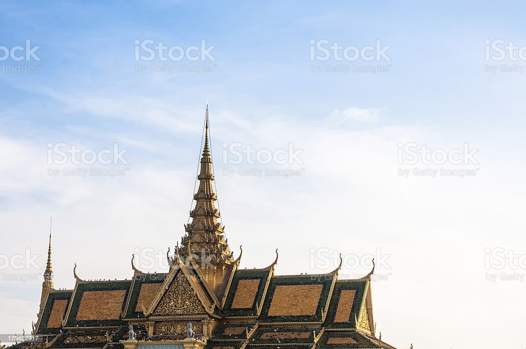 Roof Of The Royal Palace In Phnom Penh, Cambodia stock photo