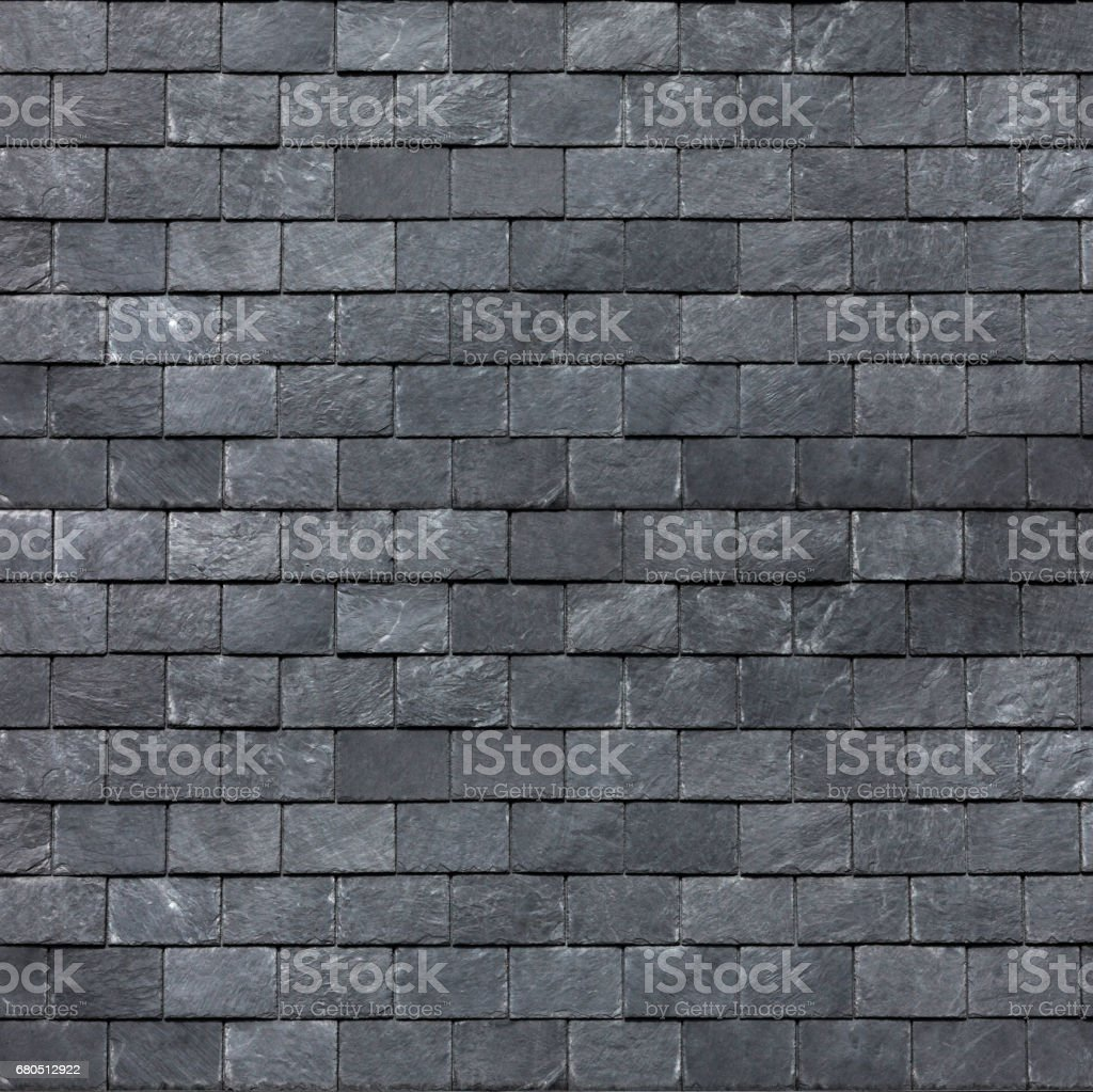 Roof (wall) of the Silesian black shale. Slate roofing tiles stock photo