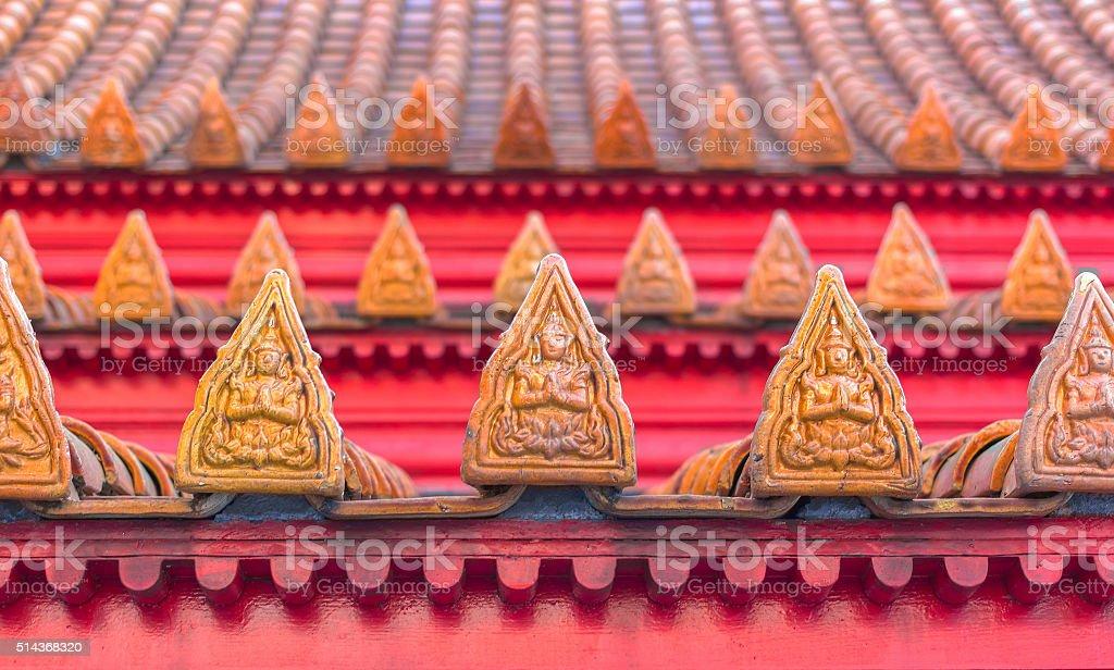 Roof of  Wat Benchamabophit stock photo