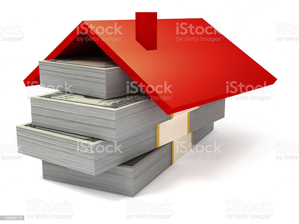 Roof on the stack of Dollars stock photo