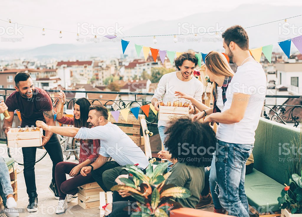 Roof party stock photo
