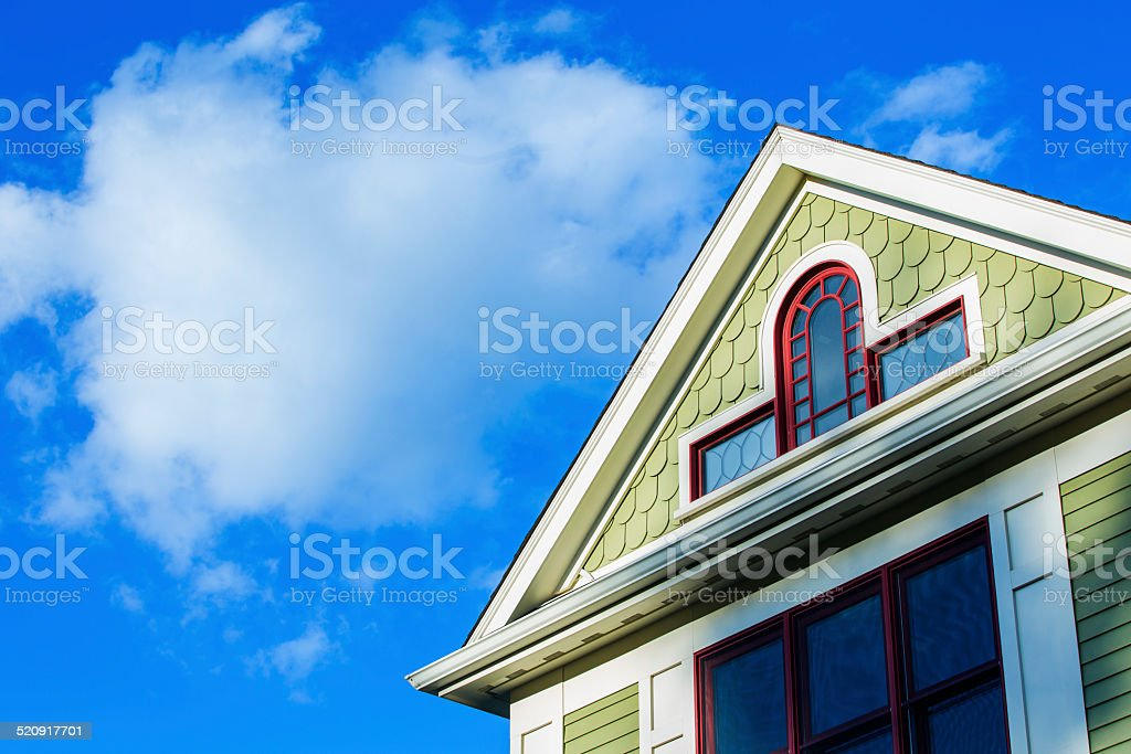 Roof Peak of a Victorian House stock photo