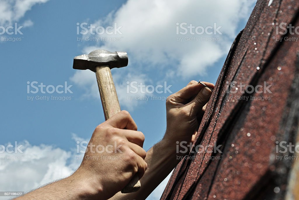 Roof repairs stock photo