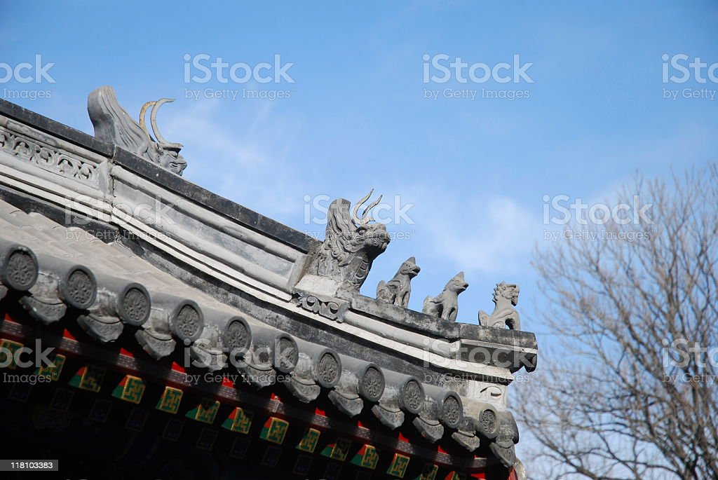 Roof sculpture of Traditional Chinese Building royalty-free stock photo