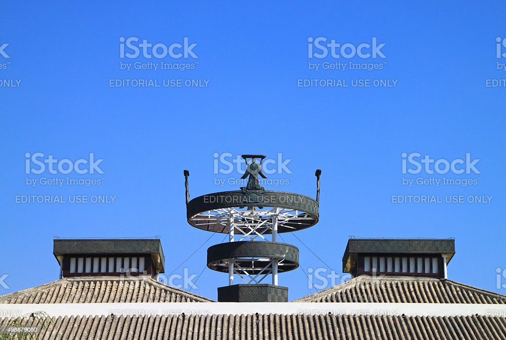 Roof Sculptures in Inner Mongolia, China stock photo