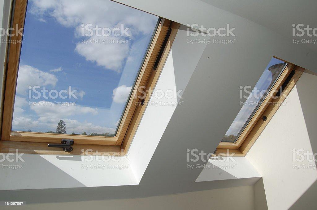 roof skylight windows stock photo