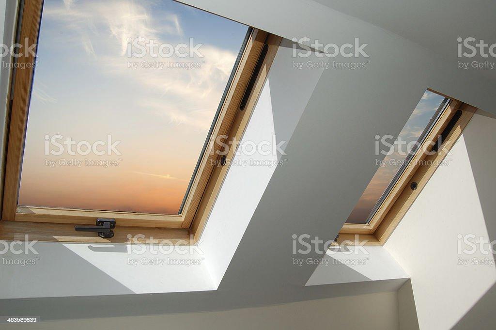 Roof Skylight Windows series stock photo