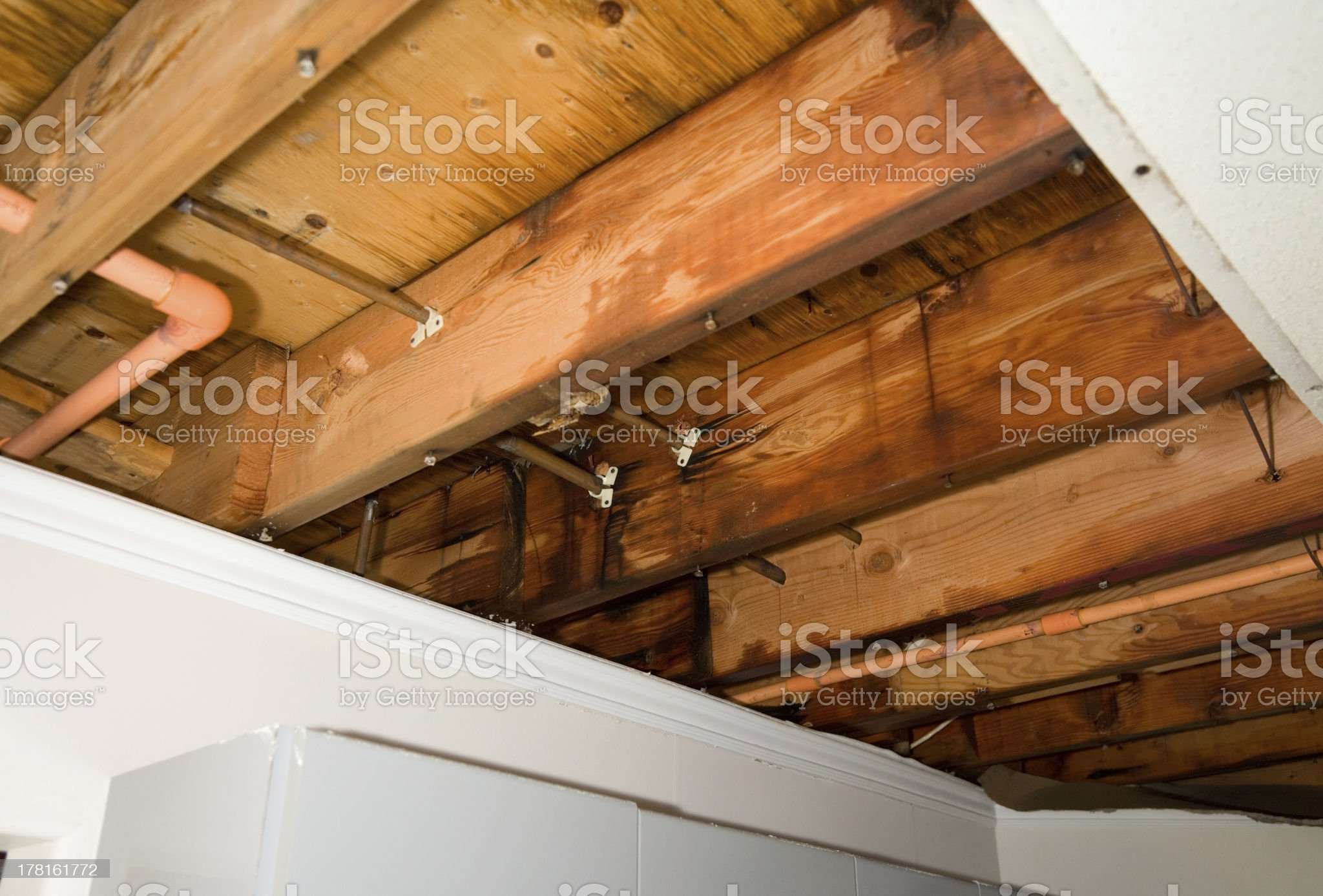 Roof struts showing a water leak royalty-free stock photo