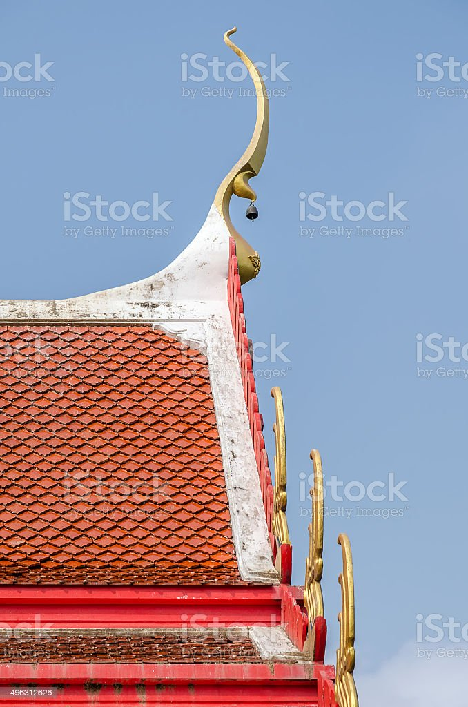 Roof style of temple with gable apex on the top stock photo