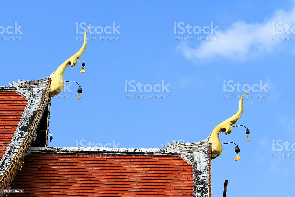 Roof style of Thai temple stock photo