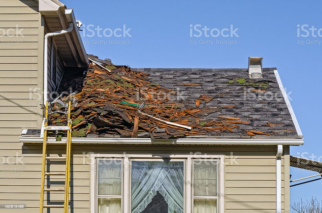 Roof Tear-off stock photo