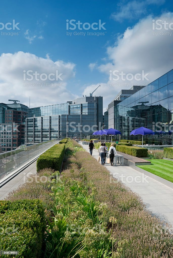 Roof terrace cafe, in a city shopping district stock photo