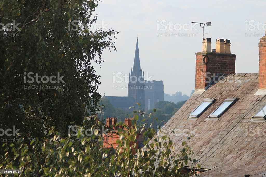 Roof terraces and Cathedral in Chester, UK stock photo