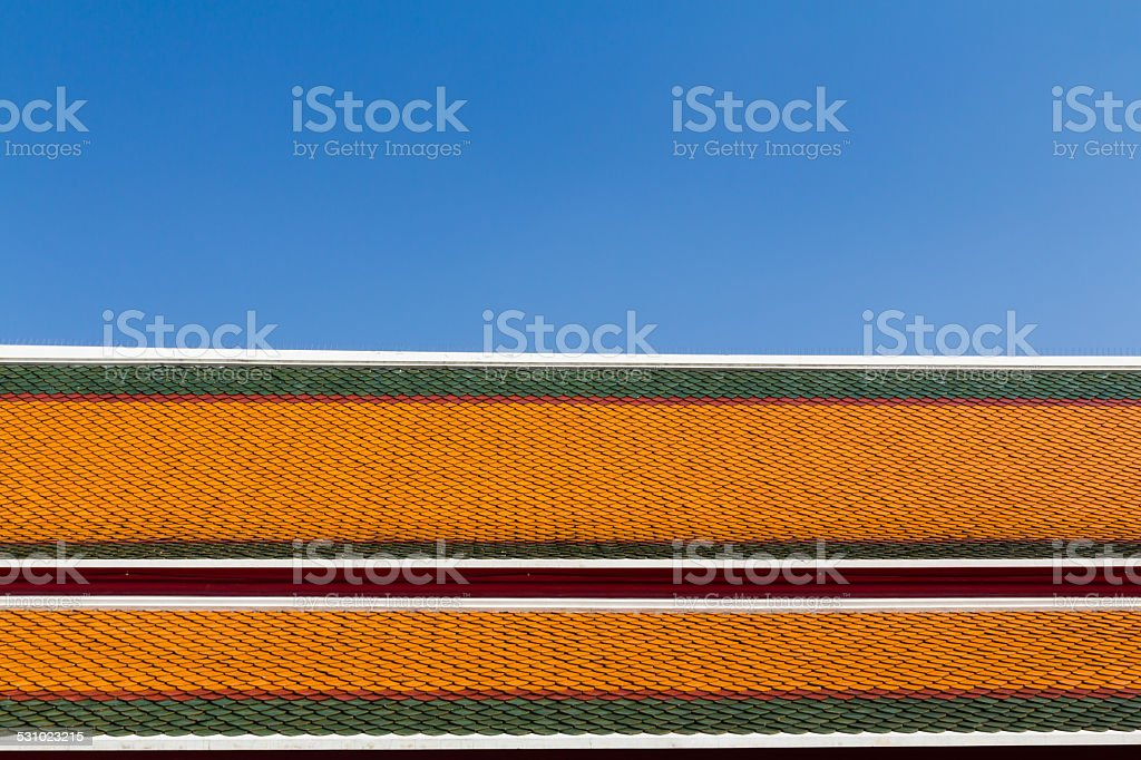 Roof texture whit clear blue sky stock photo