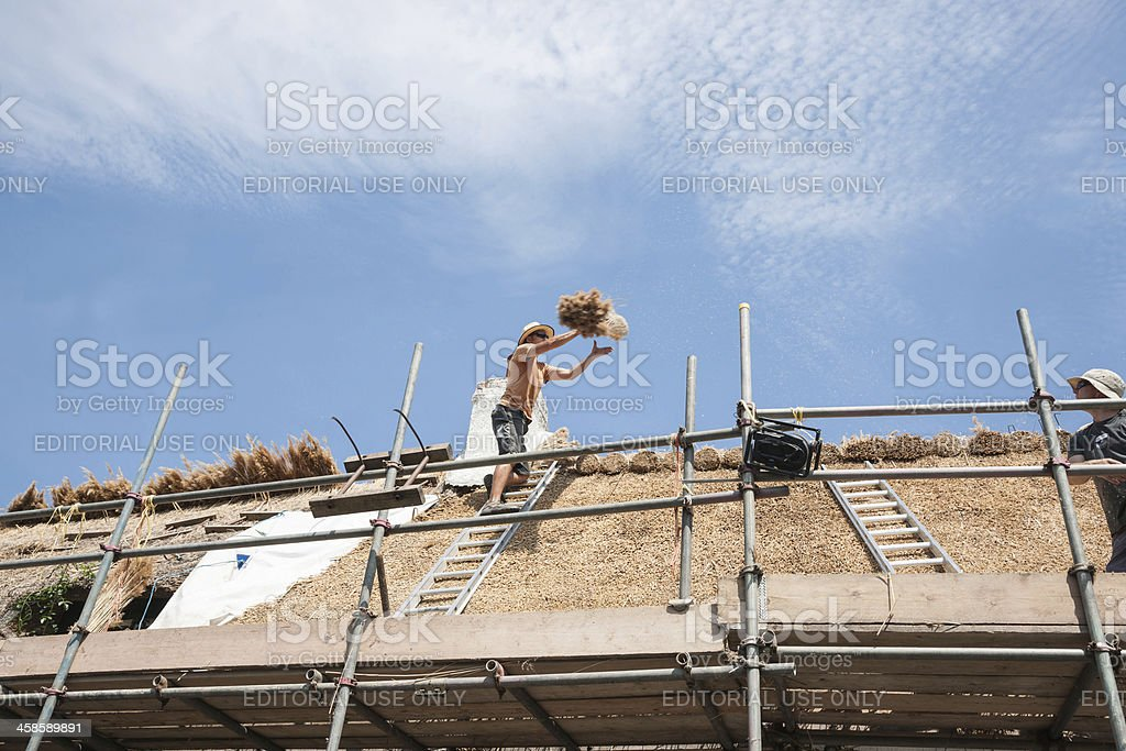 Roof thatcher on top of roof. stock photo