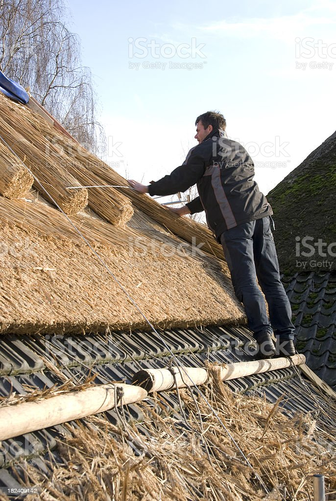 Roof Thatcher royalty-free stock photo