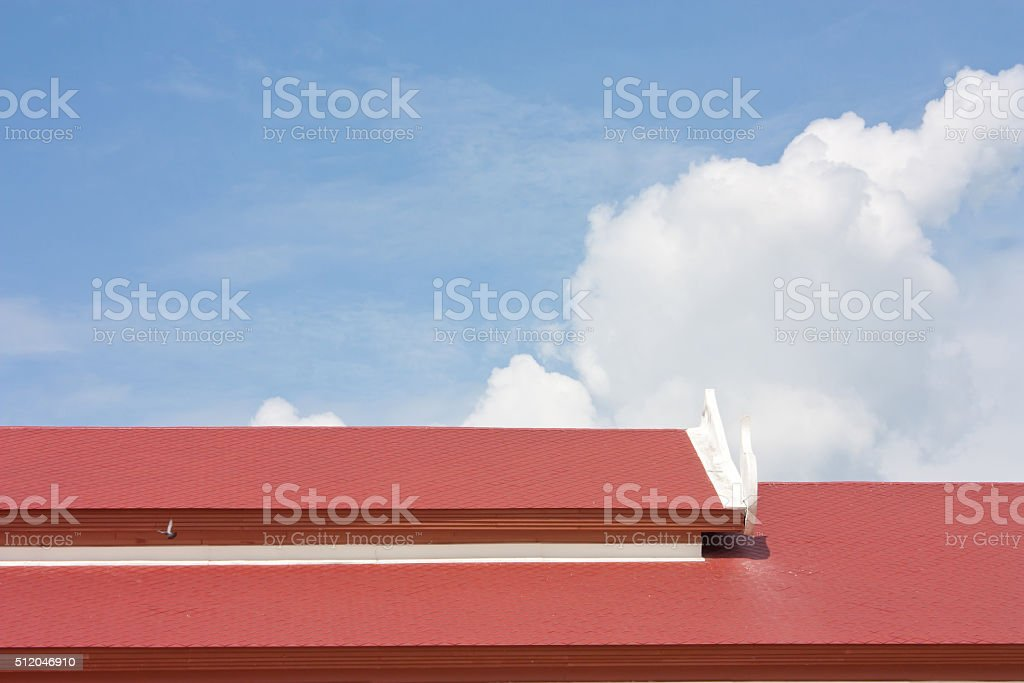 roof tile pattern over blue sky stock photo