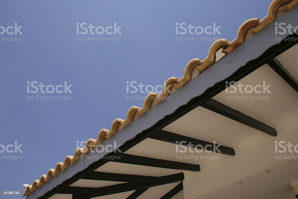 Roof tiles against blue sky royalty-free stock photo