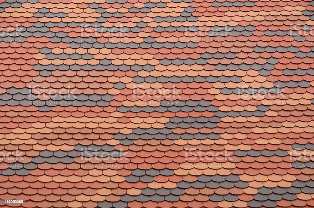 Roof tiles with different colors stock photo