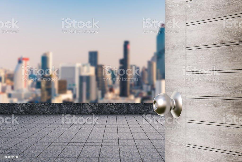 roof top balcony with door opened stock photo