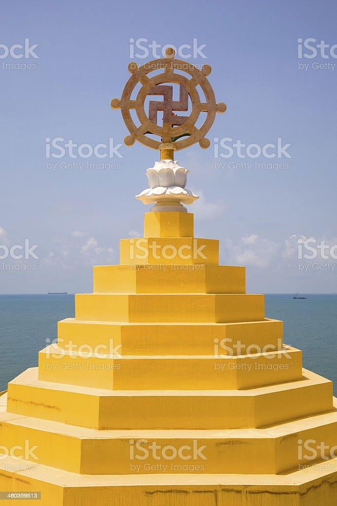 Roof top of a hillside buddhist temple, Vung Tau, Vietnam. stock photo