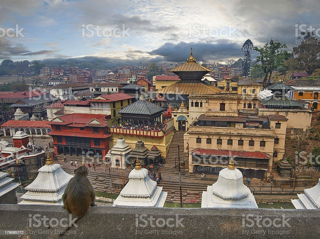 Roof top overview of Pashupatinath city line stock photo