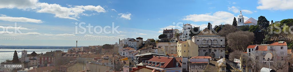 Roof top panorama the Alfams district of Lisbon Portugal stock photo