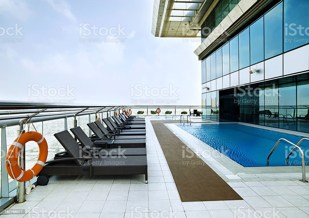 roof top swimming pool stock photo