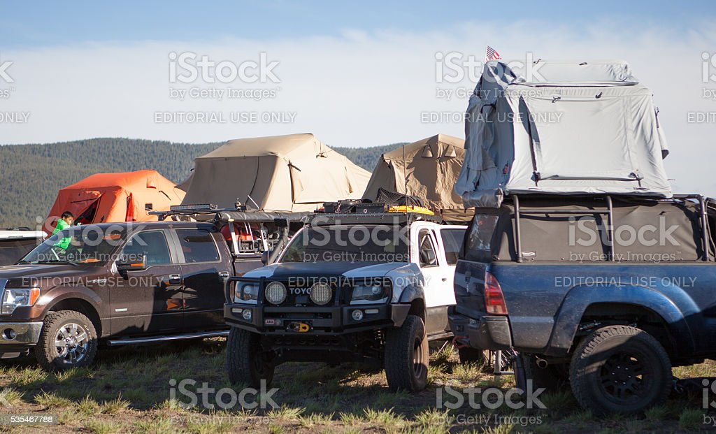 Roof top tents at an overlanding expo in Arizona stock photo