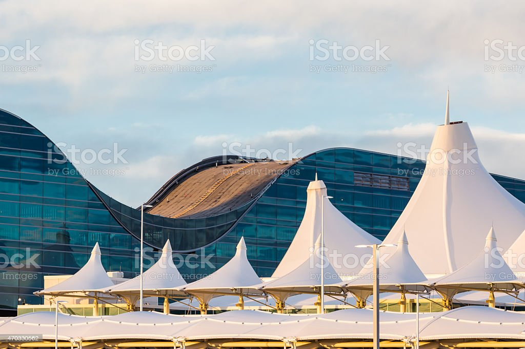 Roof top view of the airport on a semi sunny day  stock photo