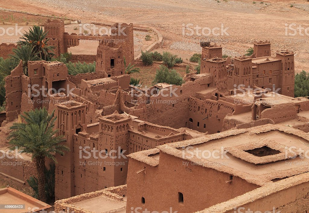 Roof tops of Ait Ben Haddou Kasbah, Morocco. stock photo