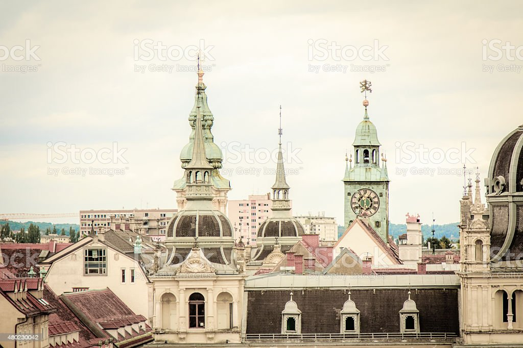 Roof tops of Graz, Austria stock photo
