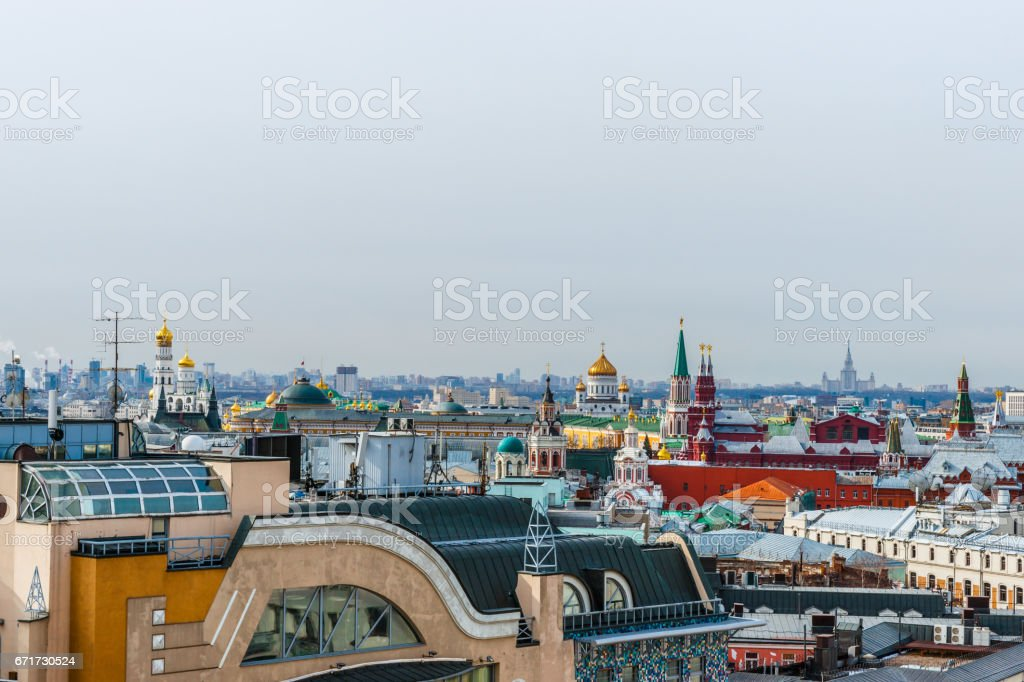 Roof tops of Moscow and the Kremlin stock photo