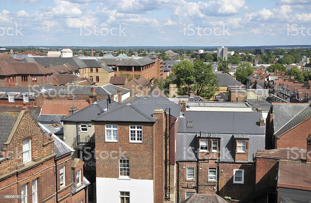 Roof Tops Over St.Albans,Hertfordshire,UK stock photo