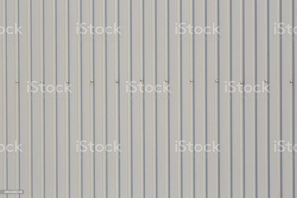 Roof trapezoidal metal sheet with bolts stock photo