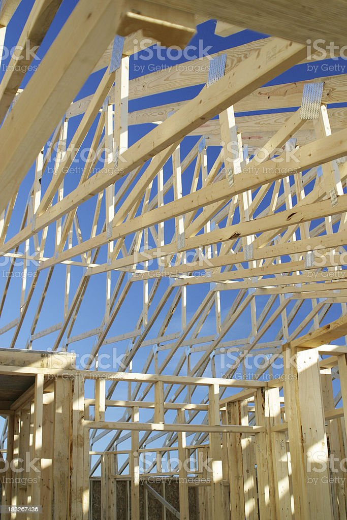 Roof Trusses and Sky royalty-free stock photo