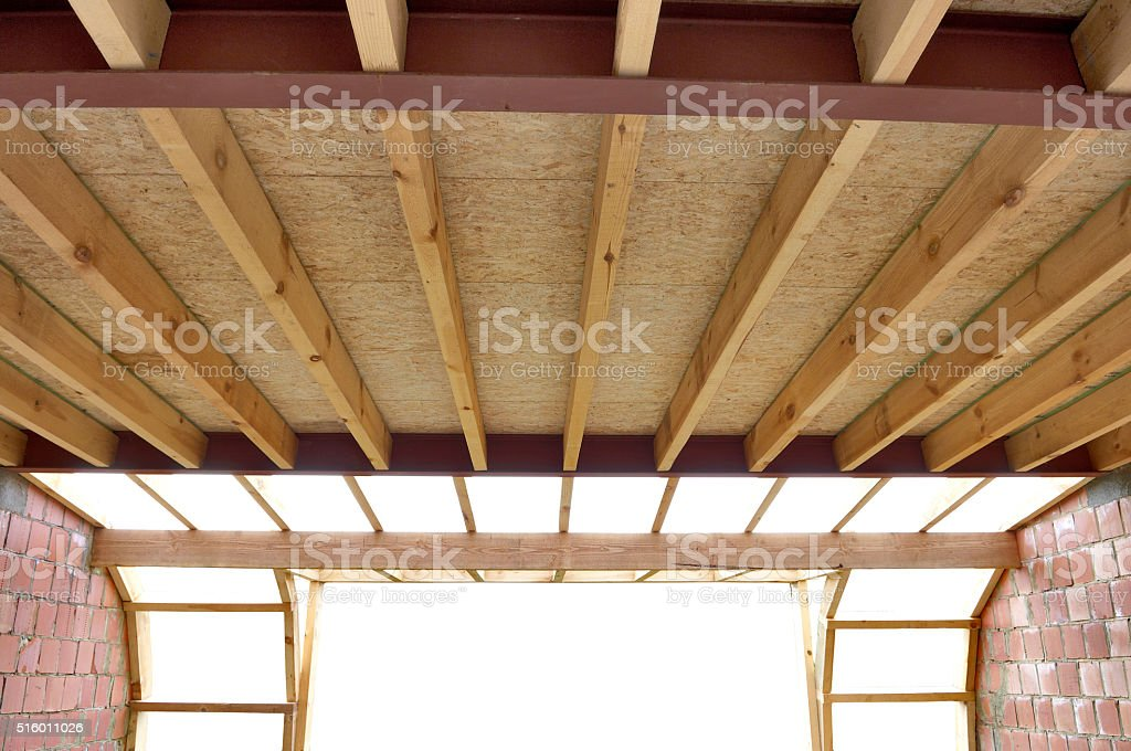 Roof trusses at a house stock photo