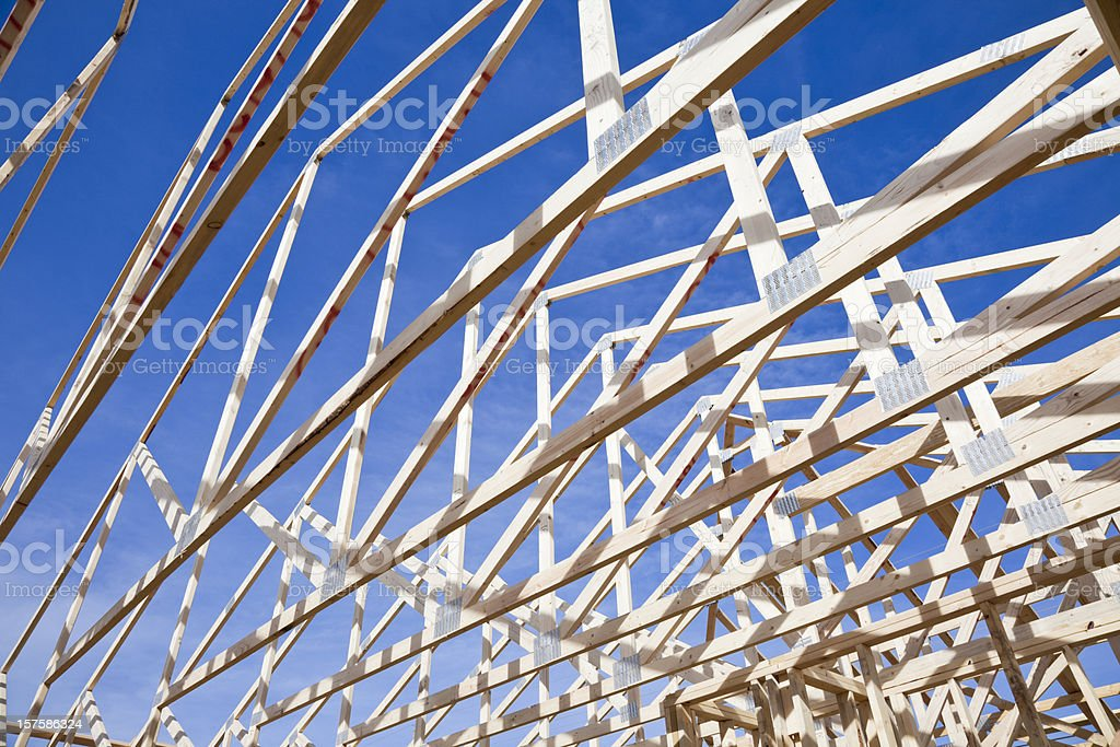 roof trusses of new construction framed home royalty-free stock photo
