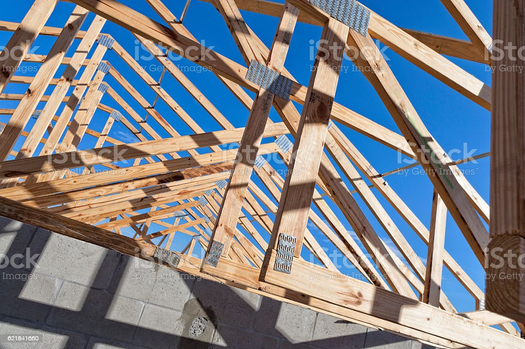 Roof Trusses on a Building Under Construction stock photo