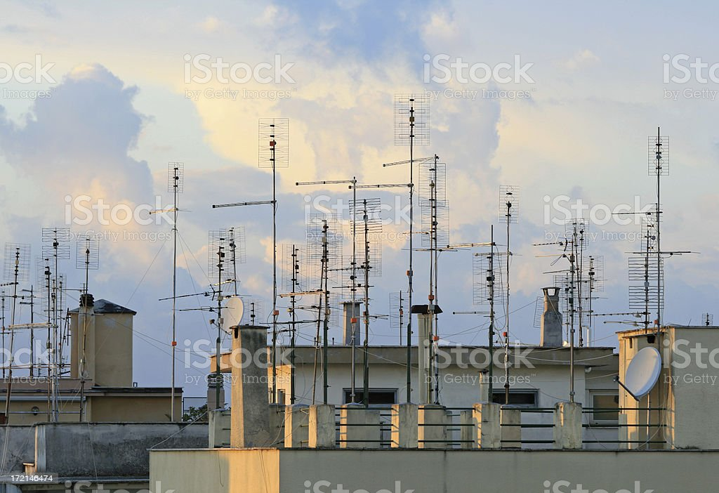 Roof TV antennas in Rome, Italy royalty-free stock photo