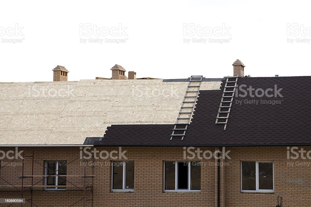 Roof under constructions with royalty-free stock photo