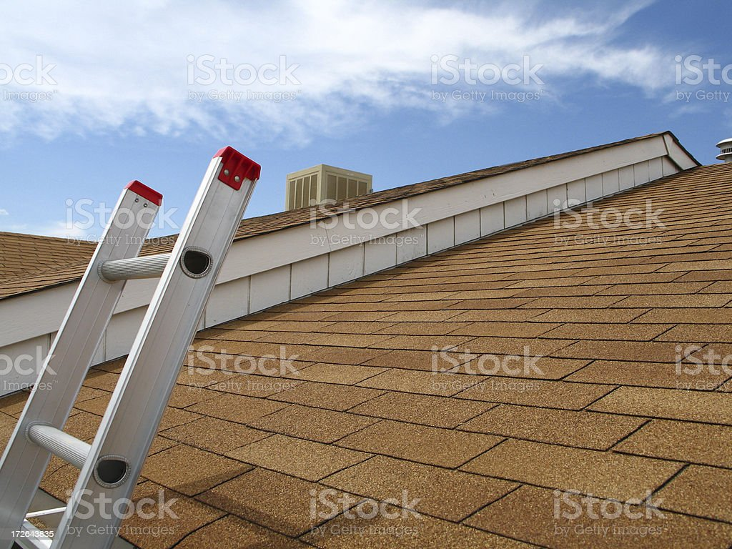 Roof View with Ladder Overlooking Reddish Shingles stock photo