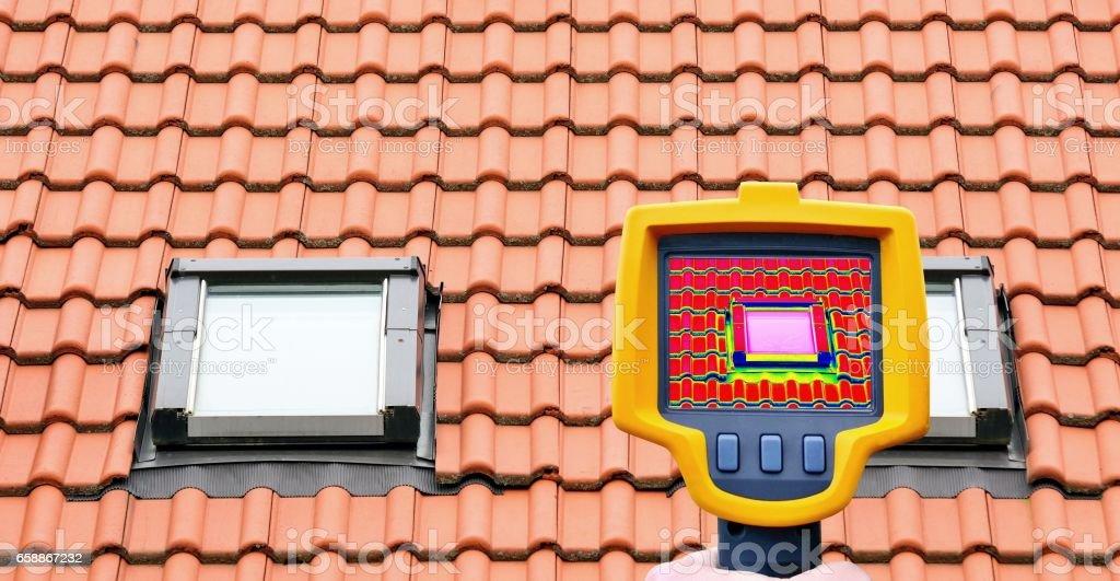 Roof window heat loss stock photo