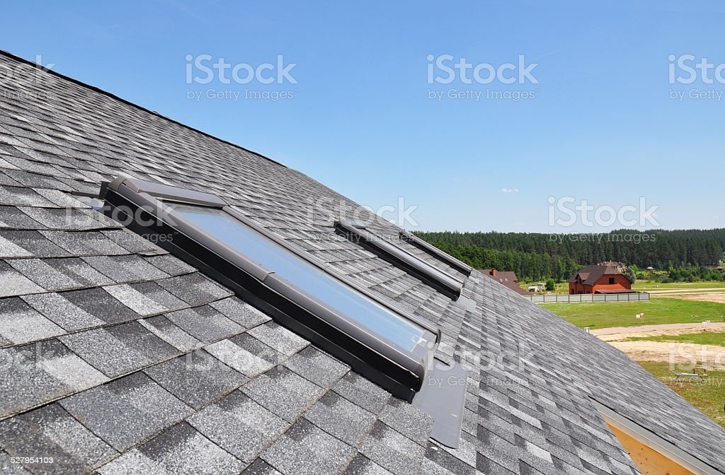 Roof windows and skylights stock photo
