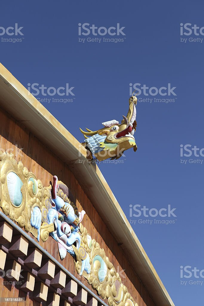 Roof with a dragon in Tibet royalty-free stock photo