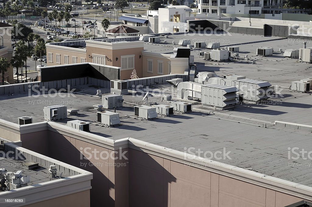 Roof with Air Condition systems installed stock photo